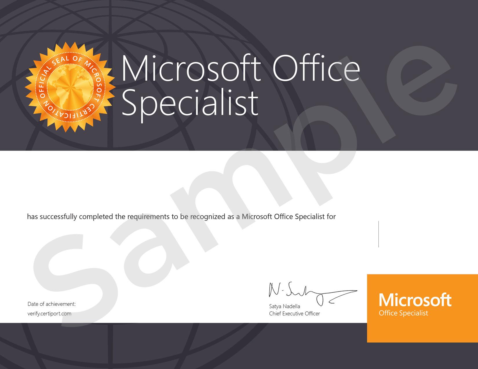 Centro examinador Microsoft Office Specialist